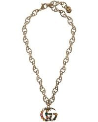 Gucci - Collier dore Crystal Marmont - Lyst