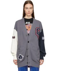 Opening Ceremony - Grey And White Long Varsity Cardigan - Lyst