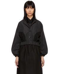 Noir Kei Ninomiya - Black Pinstriped Button-up Jacket - Lyst