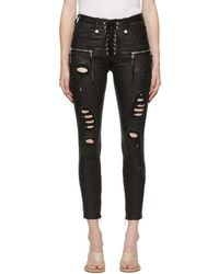 Unravel - Black Distressed Leather Lace-up Trousers - Lyst