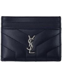 Saint Laurent - Navy Quilted Monogram Card Holder - Lyst