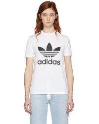 adidas Originals - White Trefoil T-shirt - Lyst