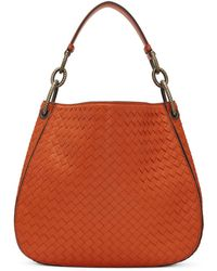 Bottega Veneta - Orange Small Intrecciato Hobo Bag - Lyst