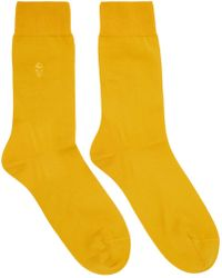 Alexander McQueen - Yellow Tonal Skull Socks - Lyst