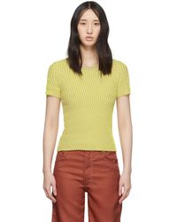 Beige And Yellow Squiggle Short Sleeve Sweater