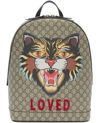 Gucci - Beige Gg Supreme Loved Angry Cat Backpack - Lyst