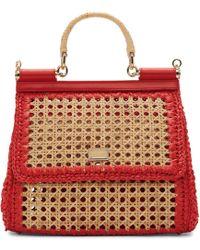 3ed1adcd3115 Dolce   Gabbana - Beige And Red Medium Miss Sicily Bag - Lyst