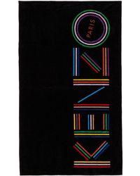 KENZO - Serviette a logo noire - Lyst
