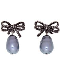 Marc Jacobs - Black Faux-pearl Small Bow Earrings - Lyst