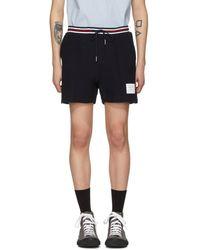 Thom Browne - Navy Basket Stitch Pin Tuck Shorts - Lyst