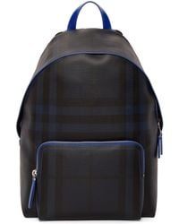 Burberry | Navy And Blue London Check Backpack | Lyst