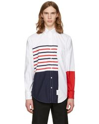 Thom Browne - White Painted Stripes Classic Shirt - Lyst