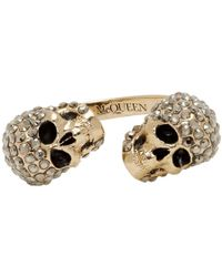 Alexander McQueen - Gold-tone Crystal Twin Skull Ring - Lyst
