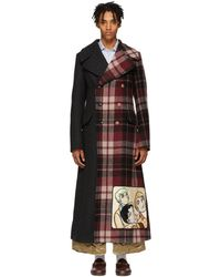 Gucci - Grey And Red Wool Madras Coat - Lyst