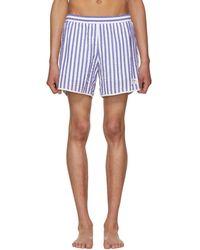 Noah - Blue And White Stripe Seersucker Running Shorts - Lyst