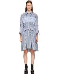 Carven - Blue Stripe Mix Shirt Dress - Lyst