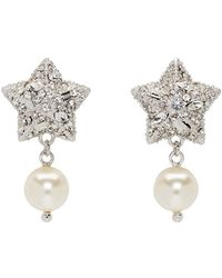 Miu Miu - Silver Pearl And Crystal Star Earrings - Lyst