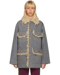 Marc Jacobs - Grey Oversized Denim Coat - Lyst