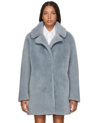 Meteo by Yves Salomon - Blue Curly Lamb Shearling Coat - Lyst