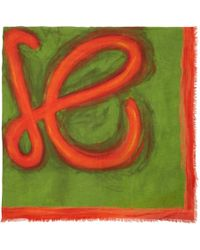 Loewe - Green And Red Anagram Scarf - Lyst