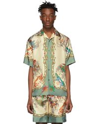Gucci - Off-white Silk Jousting Bowling Shirt - Lyst