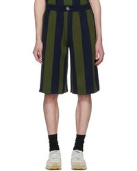 Sunnei - Green And Navy Striped Shorts - Lyst