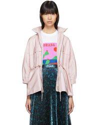 Prada - All Designer Products - Pink Nylon Short Pockets Jacket - Lyst