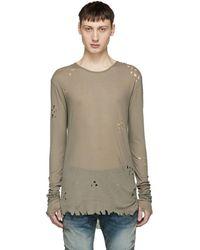 Balmain - Khaki Long Sleeve Distressed T-shirt - Lyst