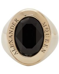 Alexander McQueen - Gold And Black Jewelled Logo Ring - Lyst