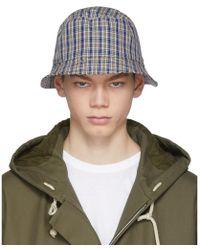 Acne Studios - Navy Check Buk Bucket Hat - Lyst