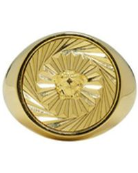 Versace - Gold Round Swirl Medusa Ring - Lyst