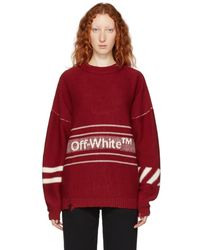 Off-White c/o Virgil Abloh - Red Logo Inside Out Sweater - Lyst