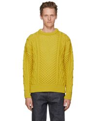 AMI - Yellow Irish Crewneck Sweater - Lyst