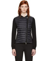 Moncler | Black Quilted Panel Jacket | Lyst