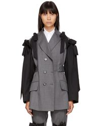 Simone Rocha - Grey And Black Bows Belted Blazer - Lyst