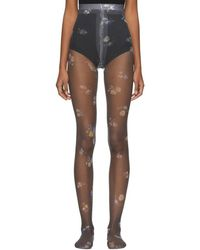 Acne Studios - Black Floral Niola Tights - Lyst