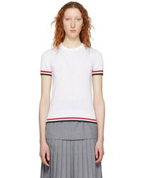 Thom Browne - White Short Sleeve Tipping Stripe Sweater - Lyst
