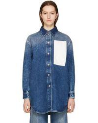 MM6 by Maison Martin Margiela - Blue 80s Wash Denim Shirt - Lyst