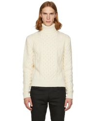 Saint Laurent - Off-white Cable Knit Turtleneck - Lyst