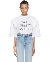 Vetements - T-shirt blanc You Fuckn Asshole Football Shoulder - Lyst