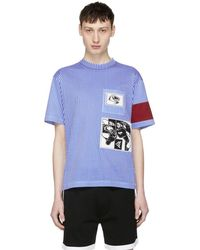 Prada - Blue And White Stripe Jwp Riga Patch T-shirt - Lyst