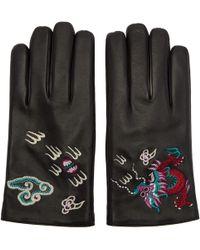Gucci   Black Leather Dragon Gloves   Lyst