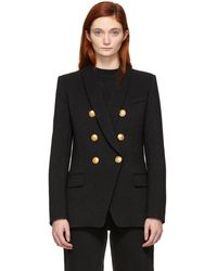 Balmain - Black Virgin Wool Double-breasted Blazer - Lyst