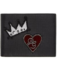 Dolce & Gabbana - Black Crown And Heart Wallet - Lyst