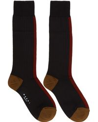 Marni | Black And Red Silk Colorblocked Socks | Lyst