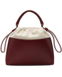 Carven | Burgundy Canvas And Leather Tote | Lyst