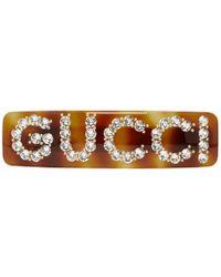 Gucci - Tortoiseshell Crystal Logo Barette - Lyst