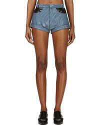 Rodarte - Blue Zebra Runway Denim Shorts - Lyst