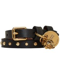 Alexander McQueen - Black And Gold Studded Skull Double Wrap Bracelet - Lyst