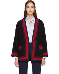 Gucci - Black Tweed Web Cardigan - Lyst